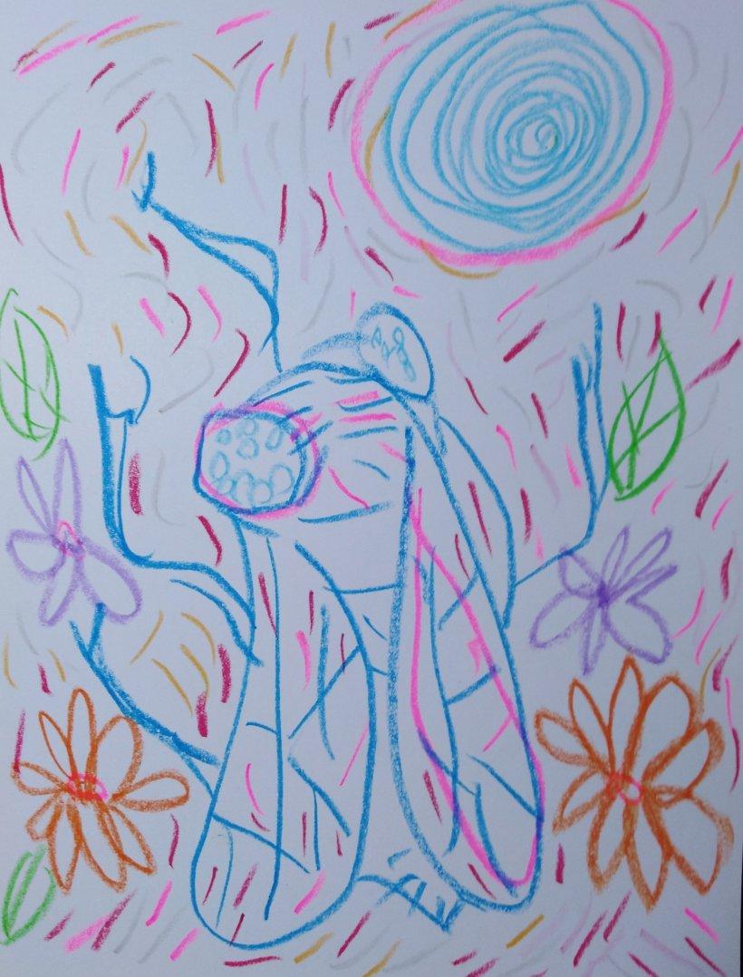 Crayon sobre papel por #artistaNairobiPrahl para Ucrania Fantástica