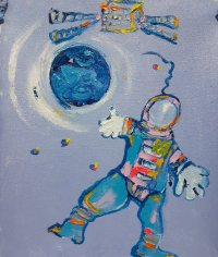 Oleo sobre tela por Artista Nairobi Prahl para Ucrania Fantástica: Ucrania en el Espacio