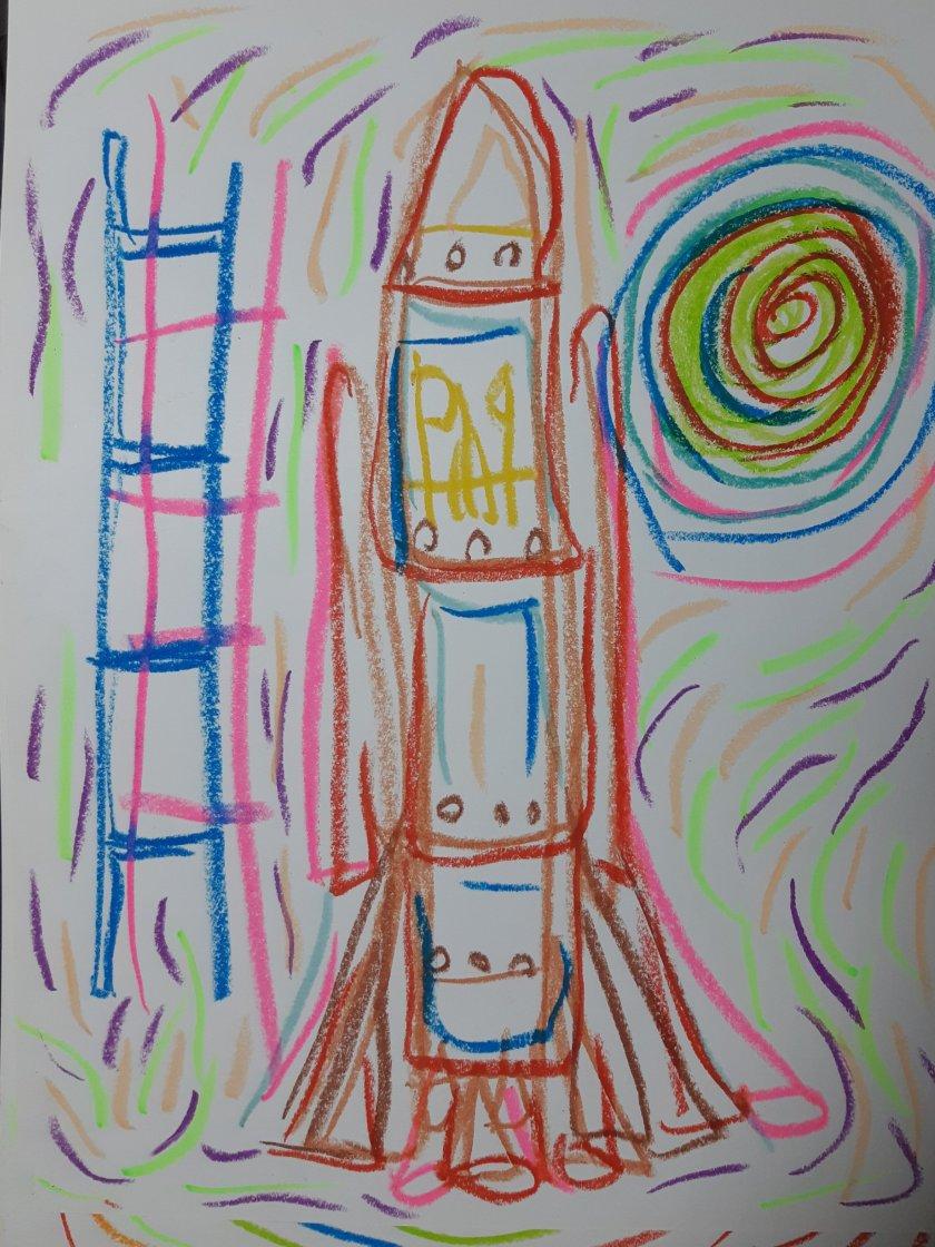Crayon sobre papel por Artista Nairobi Prahl para Ucrania Fantástica: Ucrania en el Espacio