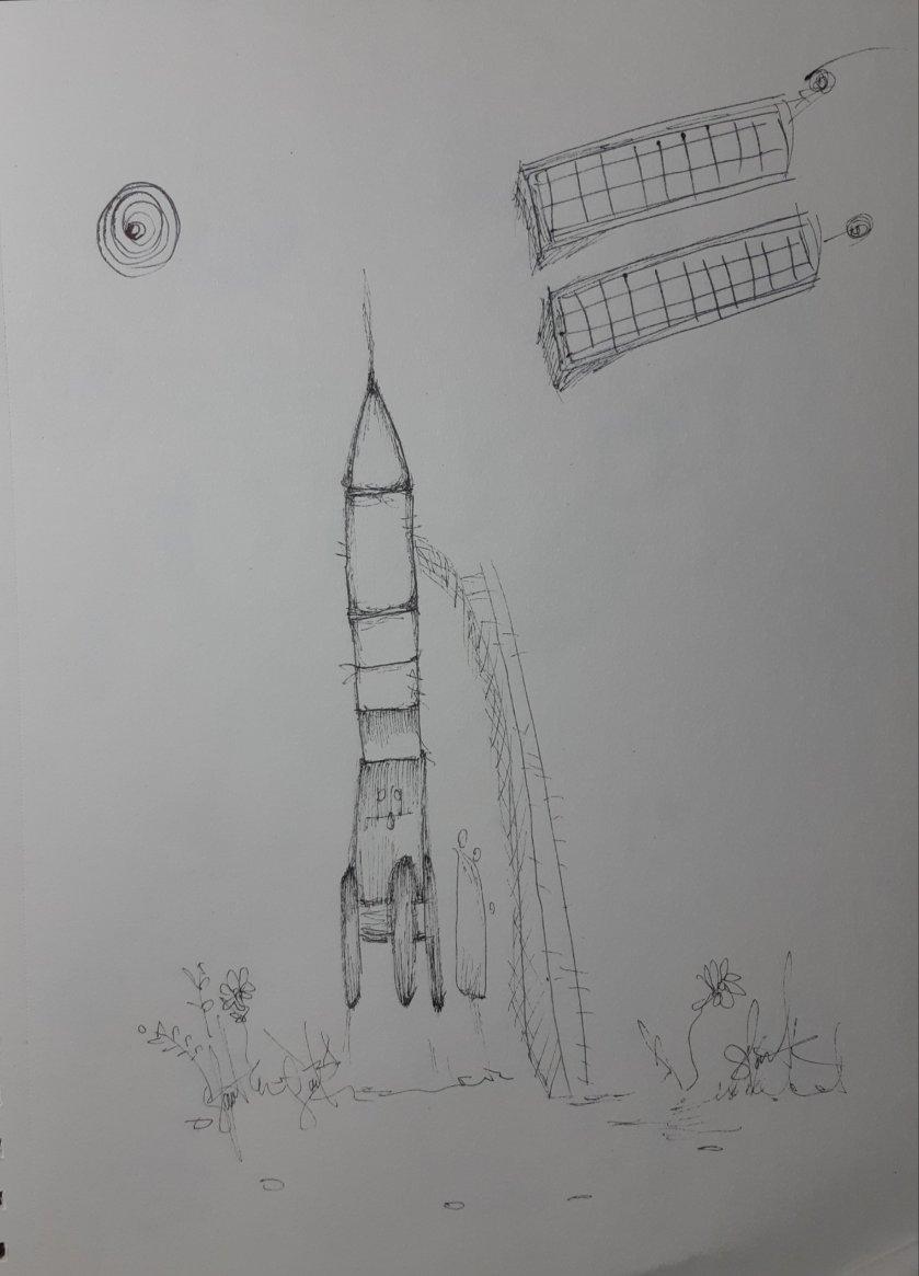 Tinta sobre papel por Artista Nairobi Prahl para Ucrania Fantástica: Ucrania en el Espacio