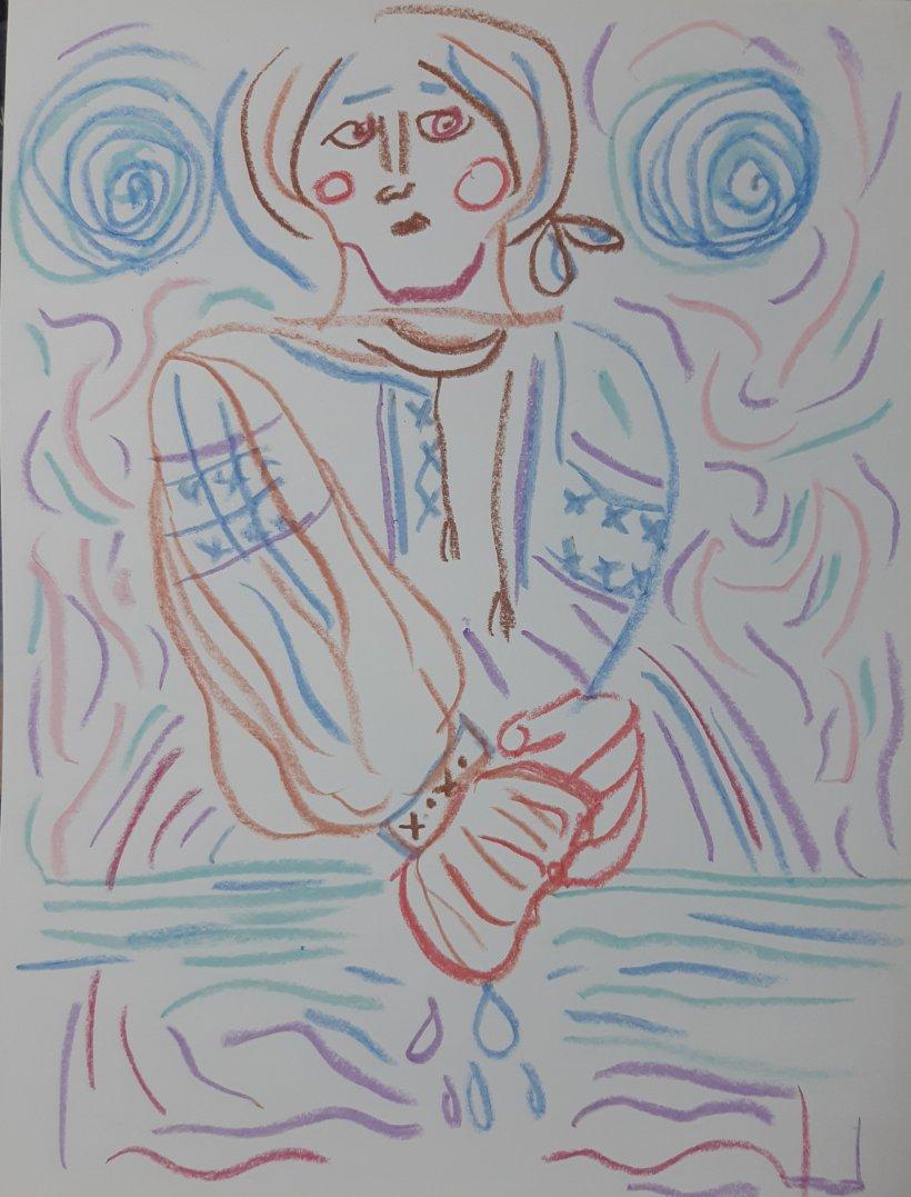 crayón sobre papel por artista nairobi Prahl para Ucrania fantástica